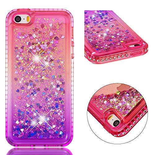 SpiritSun Funda para iPhone 5 / 5S Silicona TPU Carcasa Transparente Líquido Bumper Tapa Quicksand Cubierta Trasero Flexible Bling Suave Protectora Caso [Color de Degradado] - Rosa Púrpura