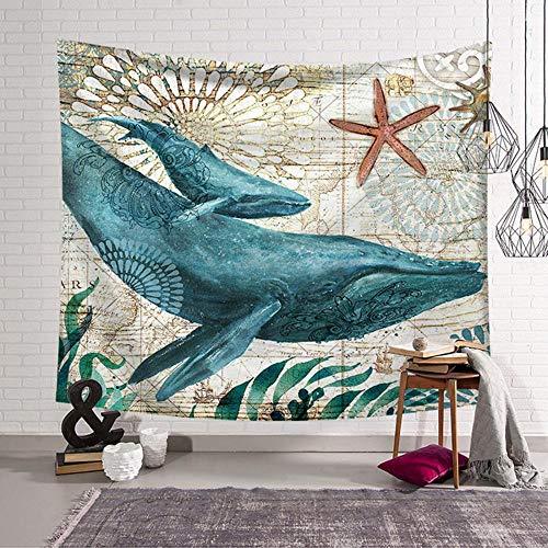 Aquatische wezens wandtapijt, mooi tapijt aquatische wezens opknoping muur foto nacht Scenery strand handdoek decoratie slaapkamer tapijt