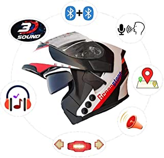 Green Stone G6 Flip-Up Best Smart Dual Bluetooth Helmet with Brake/Indicator Light & Voice Assistance Medium 580mm