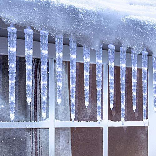 Geemoo Luci Natale Esterno,Tenda di luci LED con 20 Ghiaccioli, 90 LED Tenda Luminosa Bianco Freddo, Luci Natalizie con 8 modalità, Timer, Luci Decorazione Natale per Gronda, Finestra, Casa, Cortile