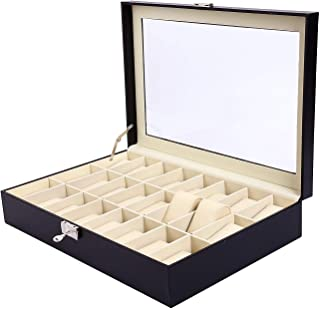 9milelake Watch Box 24 Slots Men Black PU Leather Display Clear Top Jewelry Case Organizer