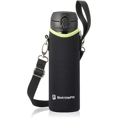 BottlePit 水筒カバー ボトルホルダー こども 女の子 男の子 500mL水筒用 携帯用ショルダーストラップ ケースのみ (ブラック)