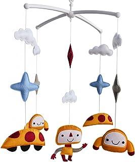 Décor de lit bébé Décoration de lit de bébé Cadeau nouveau-né Mobile musical en tissu non tissé R