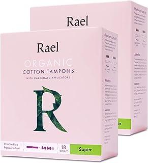 Rael - Tampones blanqueados sin cloro, orgánicos, con aplicador de cartón biodegradable, tamaño extra grande (14 en total)