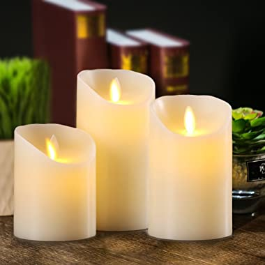 Aku Tonpa Flameless Candles Battery Operated Pillar Real Wax Electric LED Candle Sets with Remote Control Cycling 24 Hours Ti