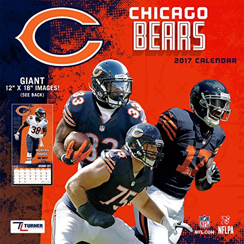 "Turner Licensing Sport 2017 Chicago Bears Team Wall Calendar, 12""X12"" (17998011904)"