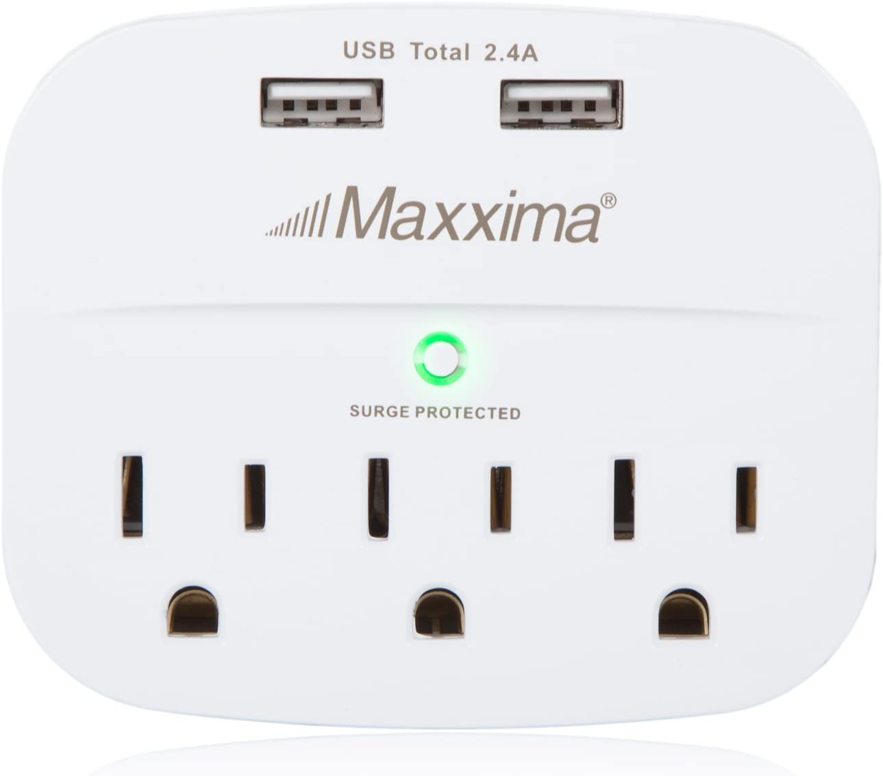 Maxxima 3 Outlet Dual USB Grounded Adaptor Plug, Multi-Plug Outlet extender, 2.4A Port 490 Joules Surge Protector, Wall Adapter Power Strip for Dorm Rooms, Kitchens, Travel, Office, School