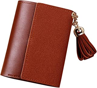 Pusaman The New Female Purse, Frosted Tassels Folded Short Wallet Card Bag, Wallet Students (Color : Brown)