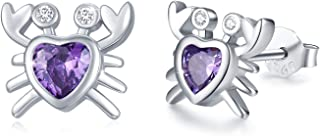 Crab Earrings 18K White Gold Plated Sterling Silver Crab...