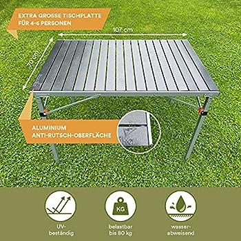 Skandika Maikku - Table de Camping Pliante en Aluminium - Table pour 6 Personnes - 107 x 70 x 70 cm - Sac de Transport - Max. 80 kg