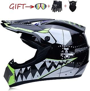 キッズモトクロスヘルメット、キッズダートバイクATVバイクヘルメットバイクスクーターモトフルフェイスヘルメットDOT (53-59cm)から選択できる3つのスタイル