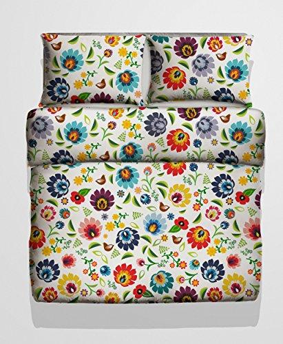 Bettwäsche, 2-teilig, Polnisch Volk Blumen Design - Deckenbezug (135x200 cm) und 1 Kissenbezug (80x80 cm) aus Microfaser - Sehr weicher Stoff - In Europa hergestellt - Oeko TEX Zertifiziert (Folk 1)