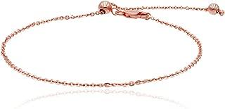 "Sea of Ice Sterling Silver 1mm Sparkle Paillette Chain Adjustable Bracelet, Size 10"""