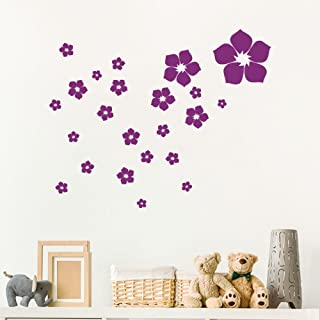 23 Piezas Pegatinas de Pared Flores Estampadas(Morado Oscuro)Calcomanías de Pared Extraíbles de Vinilo DIY Haga Su Hogar encantador con el Mural Decorativo de la Flor para Pared Familiar, Sala de Estar, Dormitorio