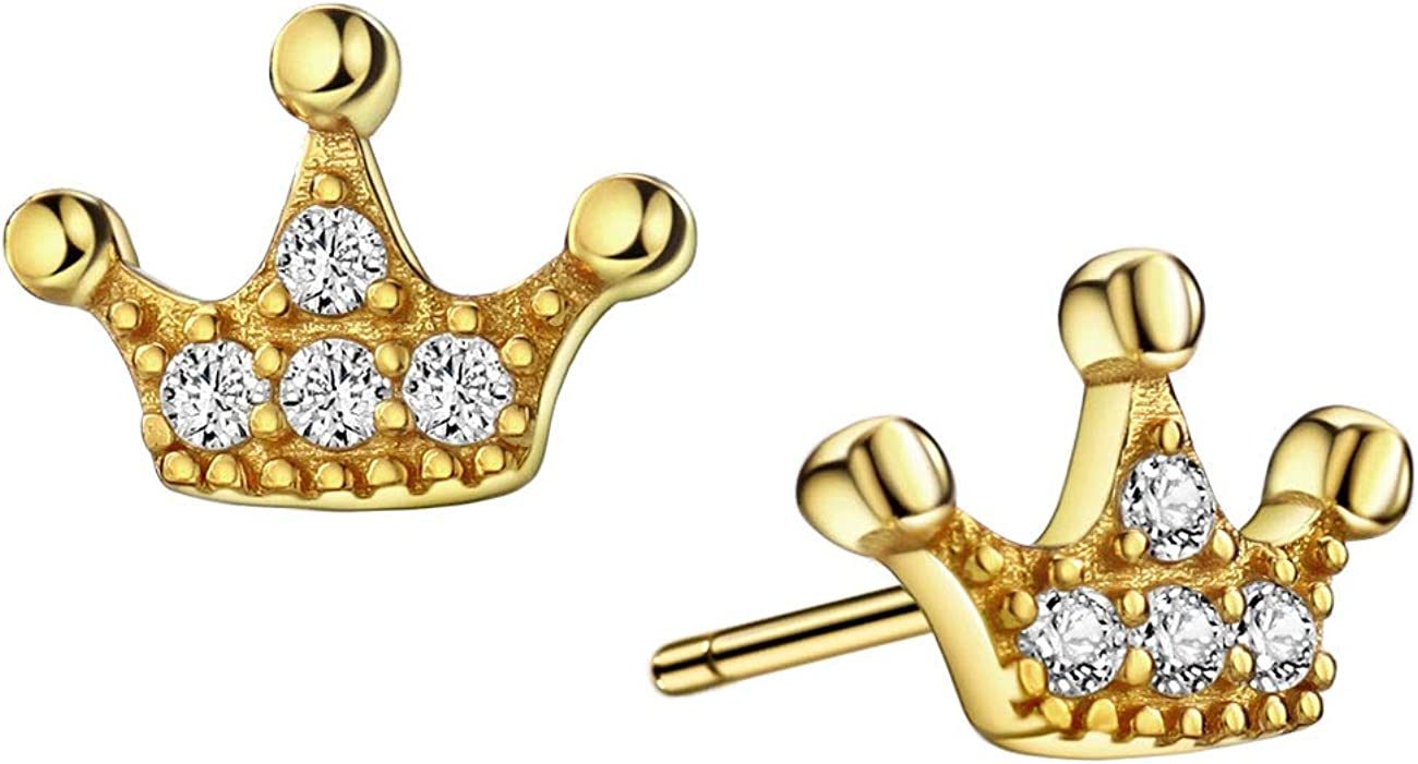 New life Silver Gold 925 Sterling CZ Free Shipping Cheap Bargain Gift Stud Earrings Princess Crown