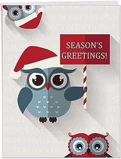 Happy Owlidays: Creative Christmas Jumbo Printed Card - 8.5 x 11 Inch Cute, Funny and Elegant Holiday Greeting Card - Xmas Appreciation Gift With Envelope (J3947BXSG)