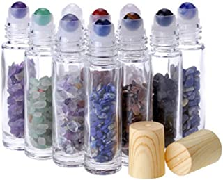 10Pcs 10ml Natural Semiprecious Stones Essential Oil Roller Bottles Clear Glass Roll-on Bottles Gemstone with Wooden Caps and Healing Crystal Chips Inside