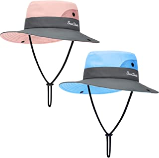 Geyoga 2 Pieces Kids Summer Sun Hat UV Protection Mesh Hat Wide Brim Bucket Cap with Ponytail Hole for Girls Wear
