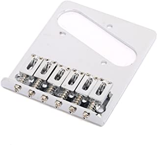 Musiclily Telecaster Guitar Bridge Assembly with 6 Saddles for Fender Tele Modern Style, Chrome