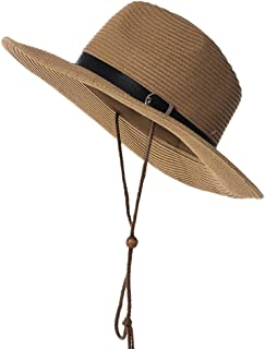 Vadeytfl Straw Collapsible Sunhat Outdoor Riding Climbing Sunscreen Sun Hat with Chin Band (Color : Brown)