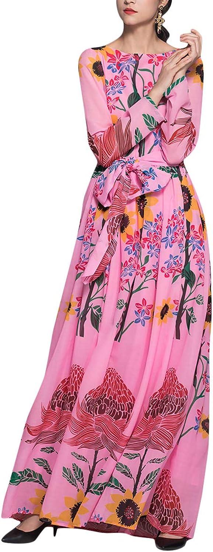 Floral Print Long Sleeve Swing Maxi Women Bow Tie High Waist Beach Wedding Dress