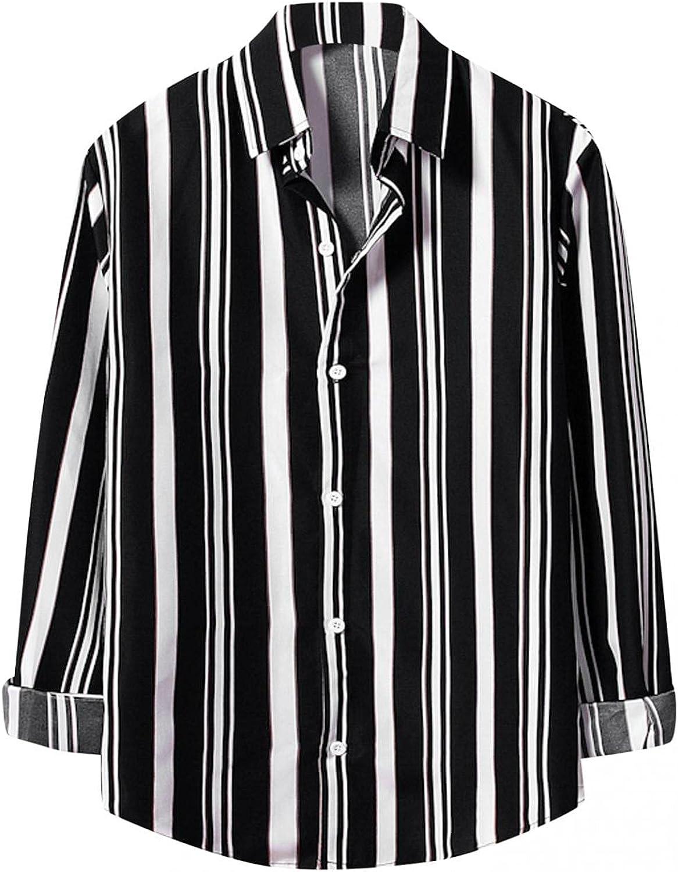 Men Long Sleeve Button Down Striped Dress Shirt Casual Contrast Lapel Cardigan Top Plaid Collar Blouse