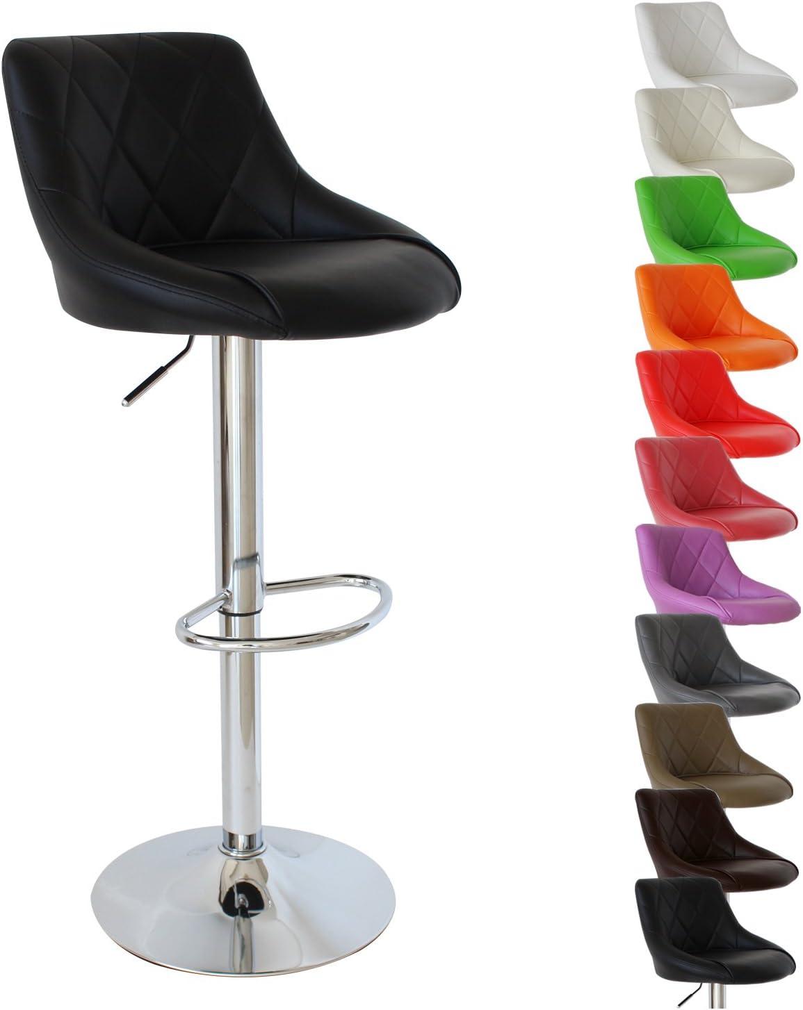 WOLTU Barhocker mit Lehne, stufenlose Höhenverstellung, verchromter Stahl, pflegeleichter Kunstleder, gut gepolsterte Sitzfläche, 11 Farbe (Grau) Schwarz