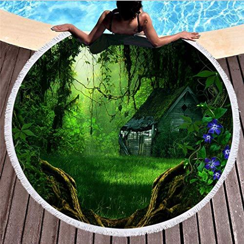 WSKMHK Runde Strandtuch,Mikrofaser Psychedelischen Wald Pflanze Baum Chalet Rasen Drucken Fabric Böhmischen Stil en Pool Kissen,Hippie Mit Quaste Groß Yoga Matte