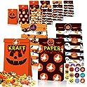 Flagicon Halloween Kraft Paper Pumpkin Candy Goodie Gift Bags