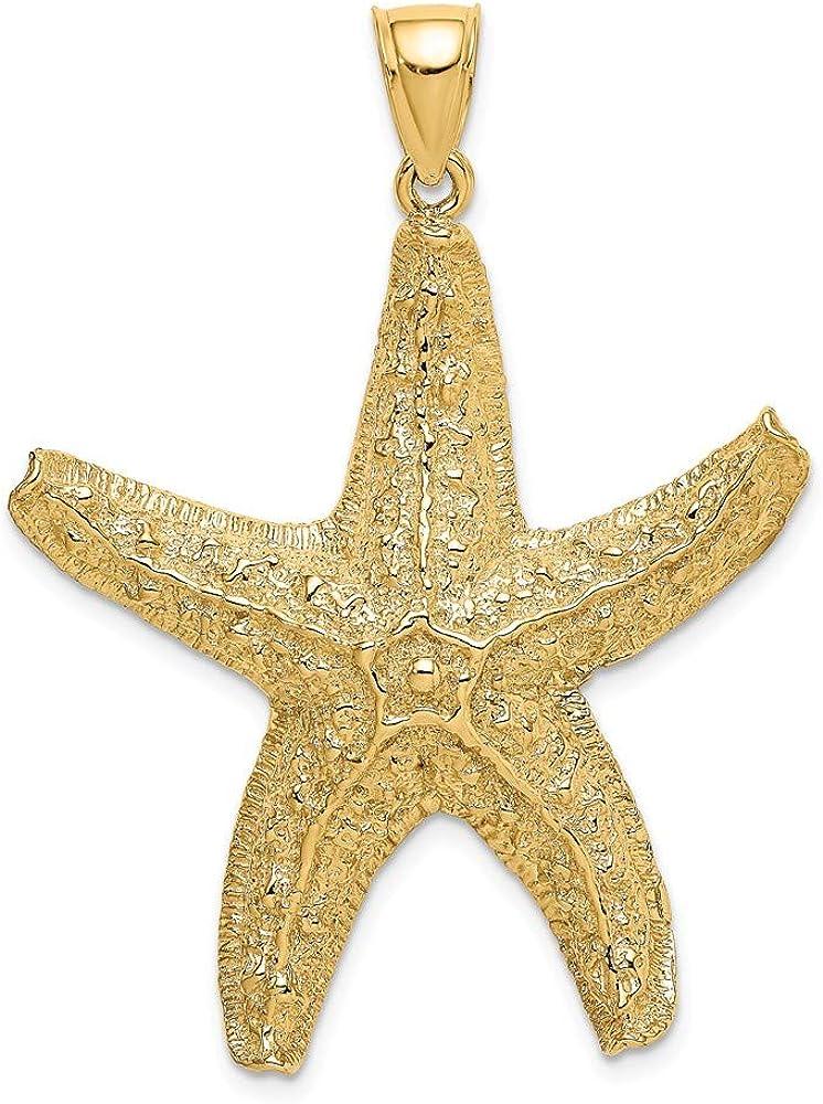 14K Yellow Gold Textured Starfish Pendant Large Elegant safety