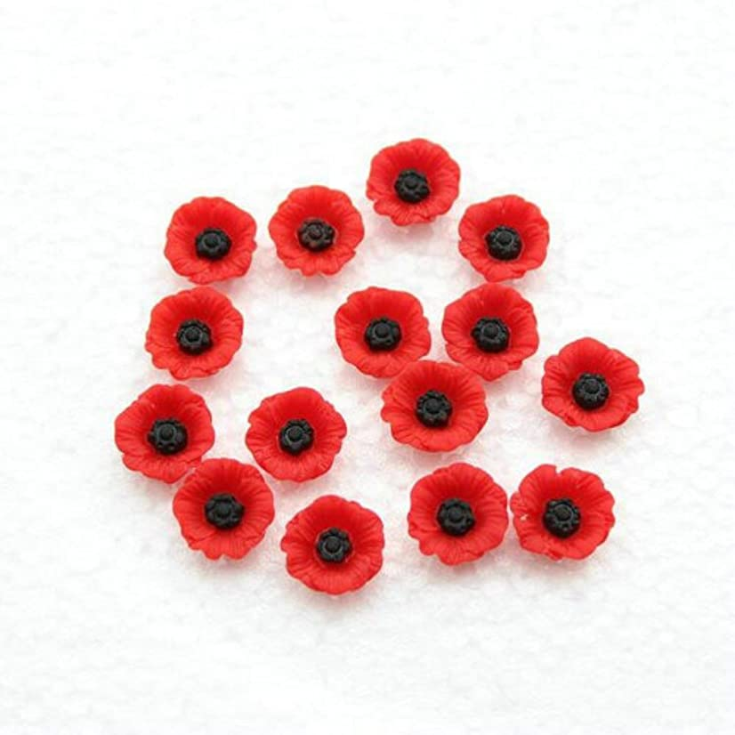 50PCS Artificial Resin Poppy Flowers Flat-Back Beads for DIY Jewelry Making (12mm)