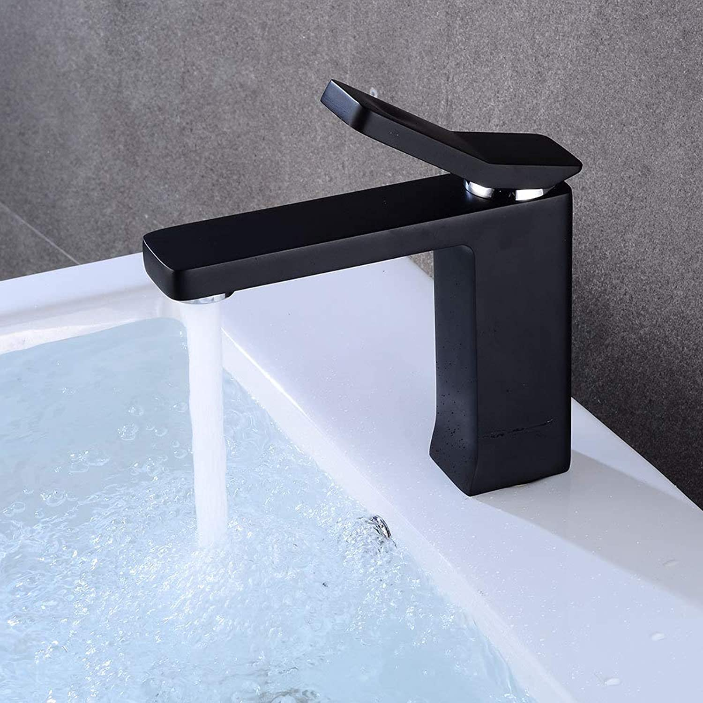 YBHNB Bathroom Basin Faucets, European style Modern Black Chrome Brass Bathroom Sink Faucet Single Handle Single Hole Toilet Bath Mixer Water Tap Crane