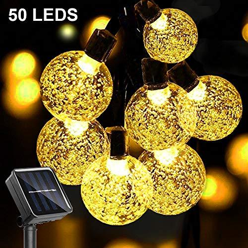 GEYUEYA Home LED Solar Lichterkette außen, 7M 50 LEDs Kristall Kugeln Solarlichterkette mit Lichtsensor Warmweiß 8 Modi IP65 Wasserdicht Deko für Garten, Terrasse, Hochzeiten,Partys,Innen und außen