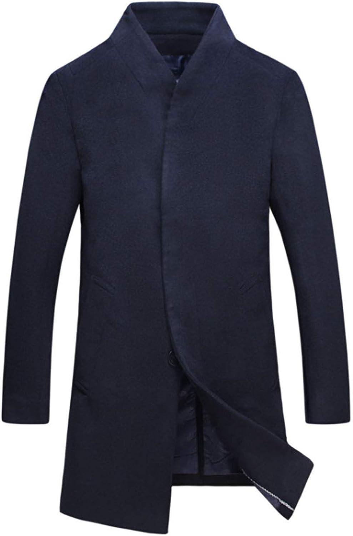 Men's Winter Trench Coat Slim Fit Stand Collar Woolen Coat Business Jacket Overcoat