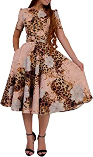 VERWIN Leopard and Floral Print Round Neck Short Sleeve A-Line Women's Party Evening Midi Dress