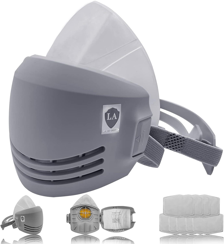 Facemoon Media máscara reutilizable, máscara respiradora de media cara, máscara antipolvo, semimáscara con respirador para pintura en spray con filtros extraíbles