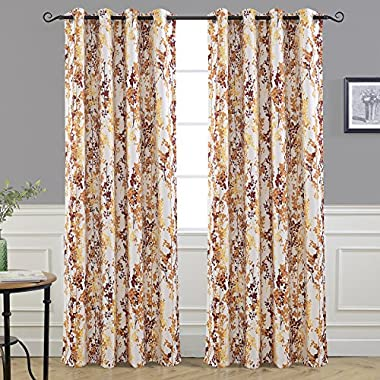 DriftAway Leah Abstract Floral Blossom Ink Painting Room Darkening/Thermal Insulated Grommet Unlined Window Curtains, Set of Two Panels, each size 52 x84  (Red/rust/Orange/Gold/Yellow)