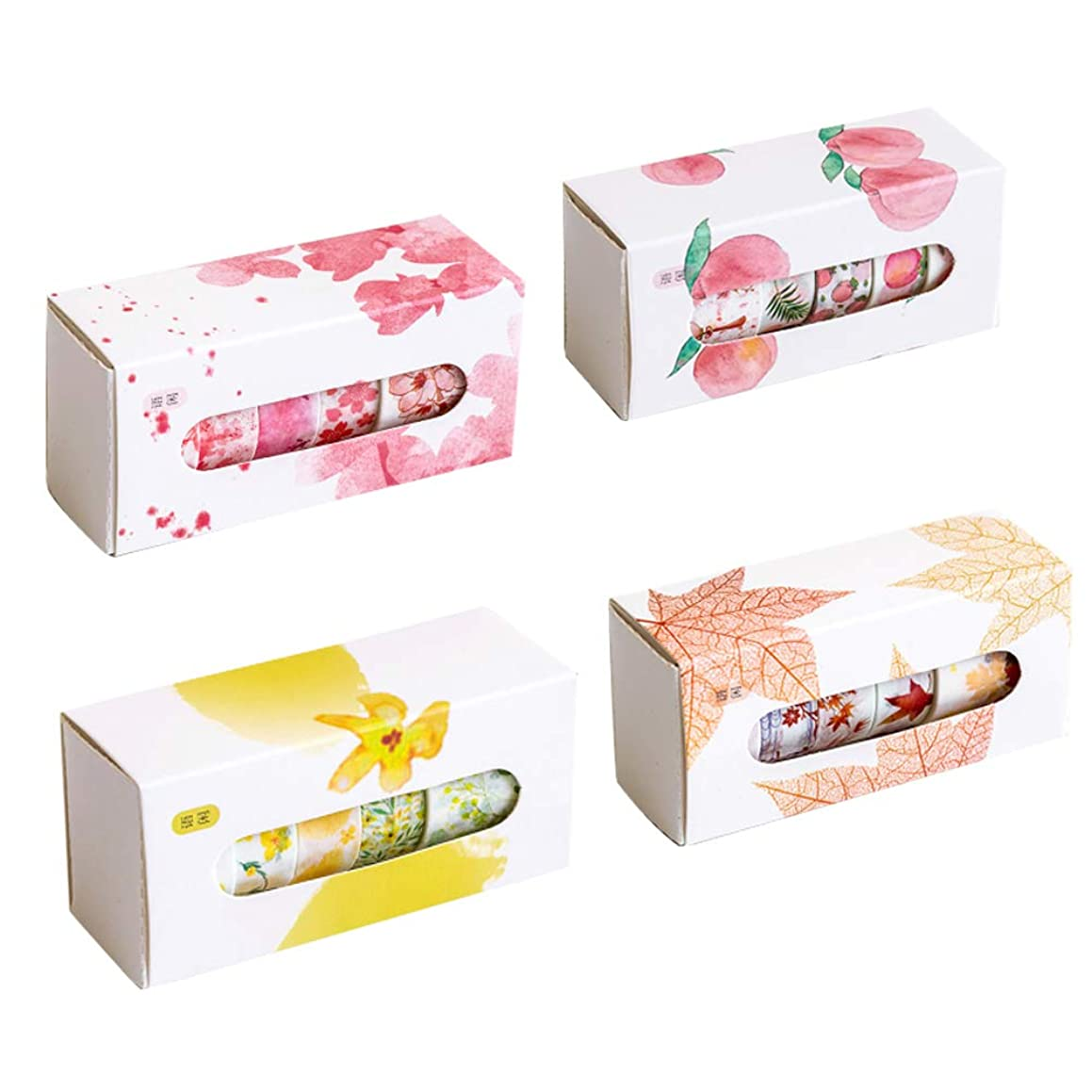 Kawaii Floral Washi Tape Set (4 Box, Assorted 20 Rolls) Lavender Plant Leaves Planet Marine Life Sailboat Fruit Masking Tape DIY Craft Scrapbboking Diary Album Decorative Label School Stationery (B)