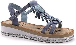 b71ce0148aa25c Angkorly - Scarpe Moda Sandali Vintage/retrò Comfortable con Cinturino alla  Caviglia Donna Frange Strass