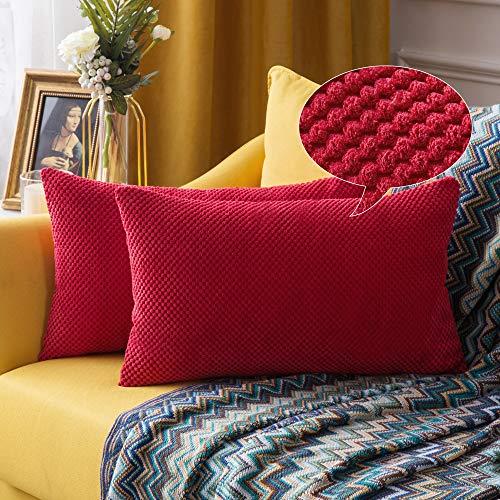 """MIULEE 2er Set Granulat Kissenbezug Ananas Weiches Massiv Dekorativen Quadratisch Überwurf Kissenbezüge Kissen für Sofa Schlafzimmer Auto 12""""x20"""", 30 x 50 cm Rot"""