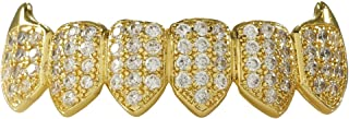 18k Yellow Gold-Plated Cubic Zirconia Cluster Fanged Grillz (Top/Bottom/Set)