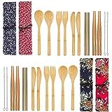 Juego de 4 cubiertos de bambú reutilizables, utensilios de bambú de viaje, vajilla con paño de almacenamiento, incluye tenedor, cuchillo, cuchara, palillos, cepillo de limpieza de paja