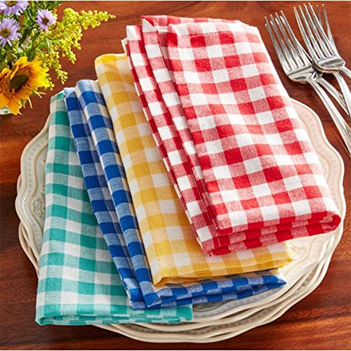 Town & Country Linen Corp The Pioneer Woman Gingham Woven Fabric Napkins Set of 4 - Red Green Blue Yellow