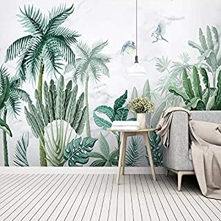 TIANXINBZ Custom Photo Wallpaper 3D Hand Painted Tropical Rain Forest Plants Landscape Background Wall Paper Living Room B...