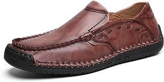 [ファイン?ショップ] 大きいサイズ 革靴 メンズ おしゃれ カジュアルシューズ フラット ラウンドトゥ ローカット 耐磨耗 通気 柔らかい 滑り止め 快適 歩きやすい 履きやすい 紳士靴 スリッポン 茶色 24.0~29.0cm