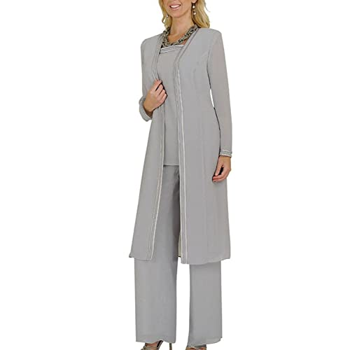 8df165525a8 Ysmo Women s Chiffon Long Sleeves Mother Of The Bride Pant Suits Plus Size  3 Pieces