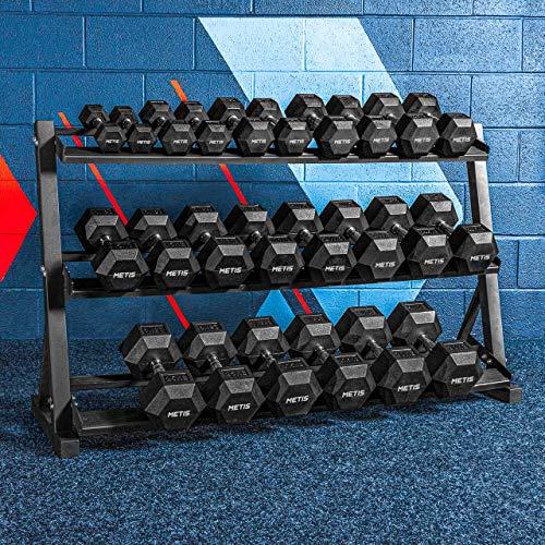 METIS Hantelablage Kurzhantel | 3 Tier Gewicht Ständer aus Stahl für Fitnesscenter und Heimgebrauch | Hantel Halter nur oder Fitness Rack & Hexagon Kurzhantel-Set (Hantelständer & Kurzhantel Set)