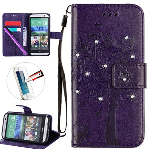 HTC One M8 Case, ISADENSER PU Leather Wallet Book Shell Luxury 3D Handmade Shine Diamond Embossing Tree Cat Butterfly Pattern Flip Protective Cover Case For HTC One M8- Purple Wish Tree