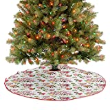 Tree Mat Vintage Antique Old Retro Tea Time Must Have Pots Cups Roses Flowers and Leaves Xmas Ornaments for New Year Party Accessories Multicolor 36 Inch