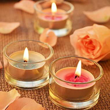 UPlama 36Pack 1 x 2 Inches Clear Glass Tealight Candle Holders,Use for Weddings Parties Dinner,Wedding Centerpieces and Home